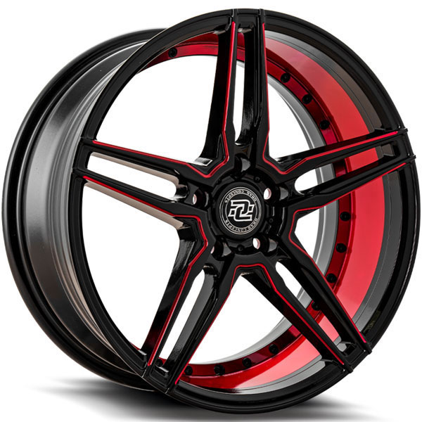 Drag Concepts R33 Gloss Black with Inner Red Milled Spokes