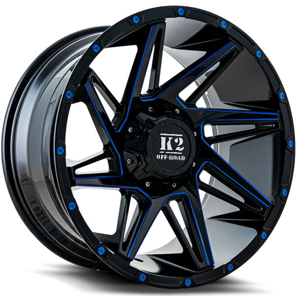 K2 OffRoad K09 Torque Gloss Black with Blue Milled Spokes