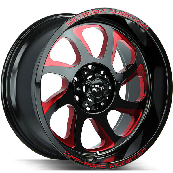 Off-Road Monster M22 Gloss Black with Candy Red Milled Spokes