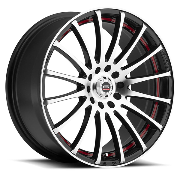 Spec-1 SP-12 Gloss Black with Machined Face and Red Insert