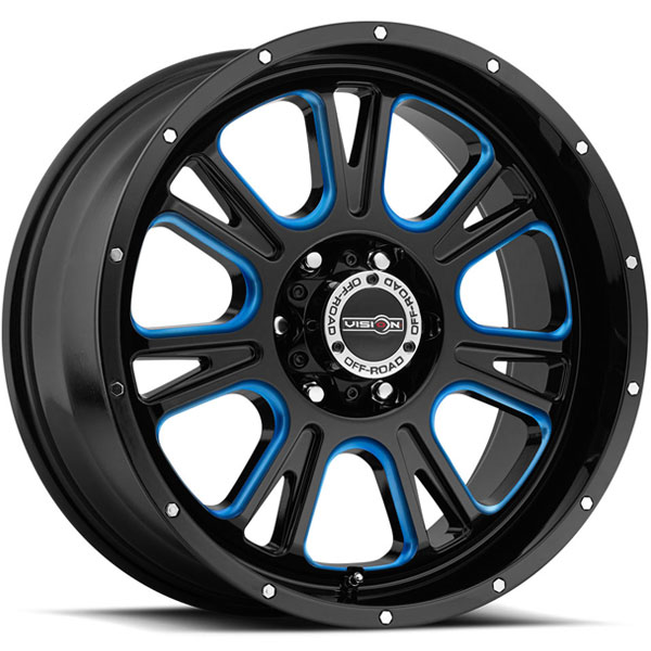 Vision 399 Fury Gloss Black with Blue Tint on Windows