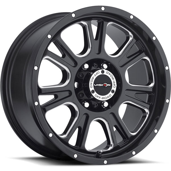 Vision 399 Fury Gloss Black with Milled Spokes