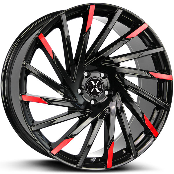 Xcess X02 Gloss Black with Red Milled Edges